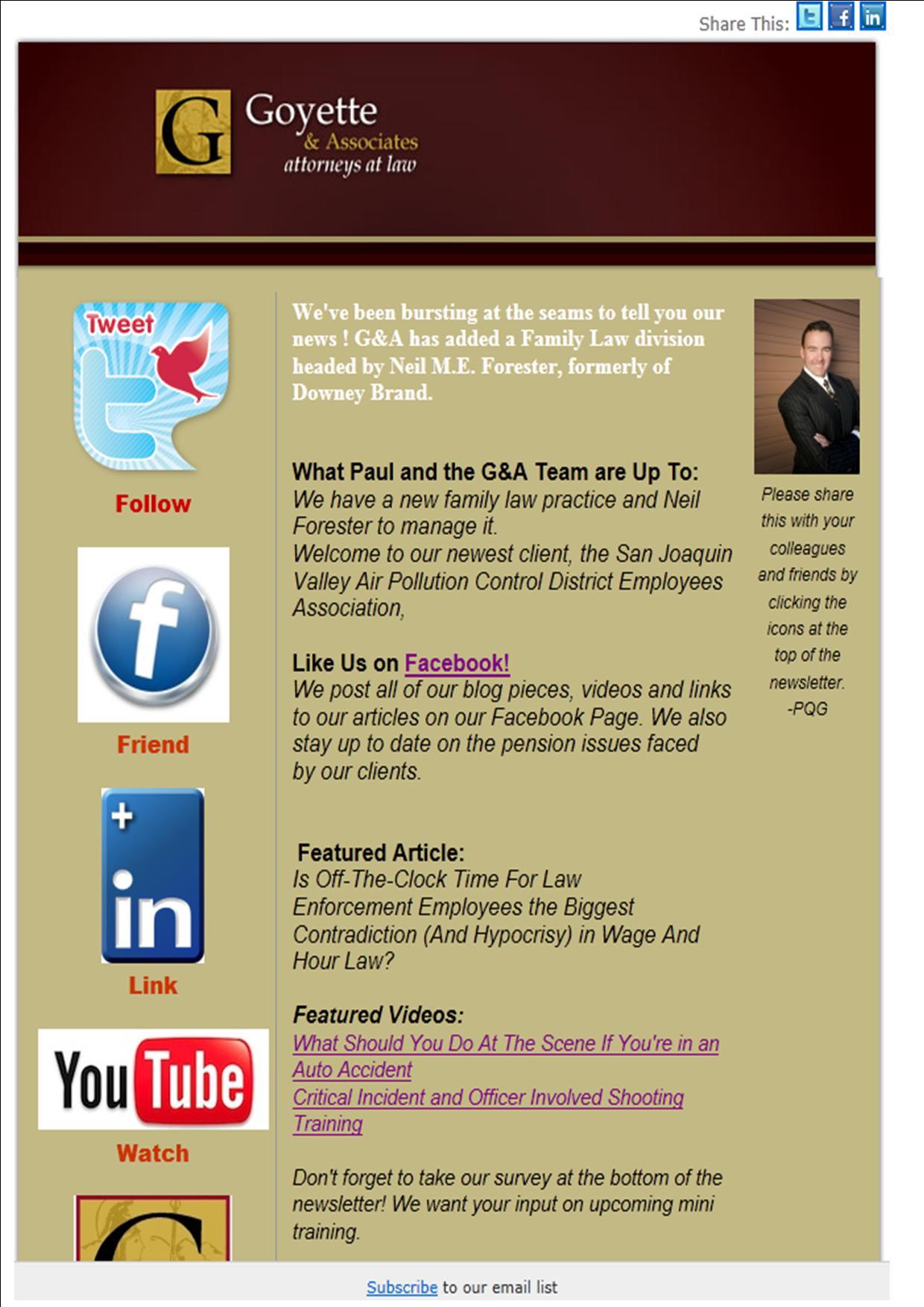 Goyette's May Newsletter Anouncing Family Law